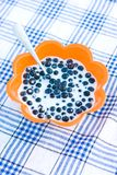 Blueberry with milk Royalty Free Stock Image