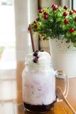 Blueberry milk soda in glass mug Royalty Free Stock Photography