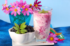 Blueberry milkshake Stock Photo