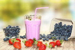 Blueberry milkshake Royalty Free Stock Images