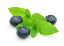 Blueberry with mint Stock Photo