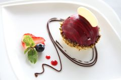 Blueberry moose cheese cake. On a plate stock photo