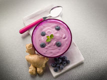 Blueberry mousse with yogurt Royalty Free Stock Photos