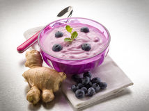 Blueberry mousse with yogurt Stock Photo
