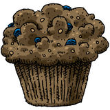 Blueberry Muffin. A cartoon, blueberry bran muffin royalty free illustration