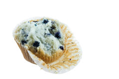 Blueberry Muffin. Partially eaten blueberry muffin isolated on white Stock Photos
