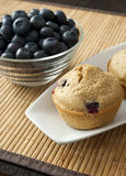 Blueberry Muffin with Bowl of Blueberries Stock Photography