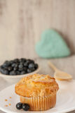 Blueberry Muffin Breakfast With Heart Shape in Background Royalty Free Stock Images
