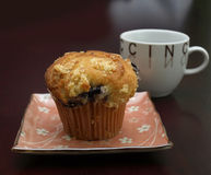 Blueberry muffin and cappuccino cup Stock Images