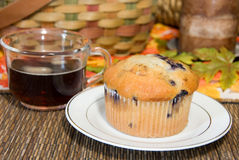 Blueberry muffin and coffee Stock Photos