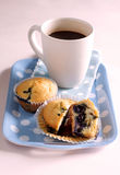 Blueberry muffin and coffee. Two blueberry muffins with one halved to show the innards Royalty Free Stock Image