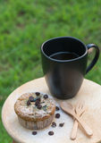 Blueberry muffin with coffee cup Royalty Free Stock Image