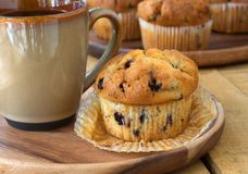 Blueberry Muffin and Coffee Royalty Free Stock Photos