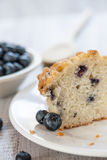 Blueberry Muffin Cut In Half With Wooden Spoon Stock Photos