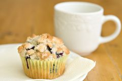Blueberry muffin with a drink of milk. Blueberry muffin on a yellow napkin with white plate with a drink of milk Stock Image