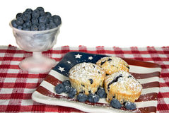 Blueberry muffin on flag plate Stock Photo