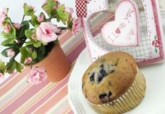 Blueberry Muffin with I Love You Heart Royalty Free Stock Photo