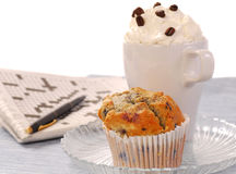 Blueberry muffin and a latte coffee Stock Images