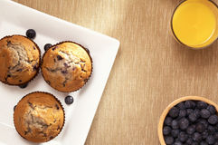 Blueberry muffin, and orange juice Stock Photography