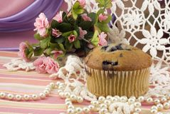 Blueberry Muffin on Vintage Background Royalty Free Stock Images