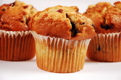 Blueberry muffins. Three freshly baked blueberry muffins Stock Photo
