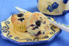 Blueberry muffins. Fresh warm blueberry muffins right out of the oven for coffee break Royalty Free Stock Images
