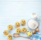 Blueberry Muffins Baking Background Stock Photos
