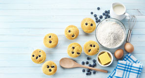 Blueberry Muffins Baking Background Stock Photo