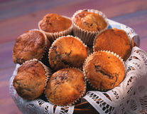 Blueberry muffins in basket Royalty Free Stock Photography