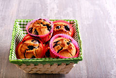 Blueberry muffins in basket Stock Photo