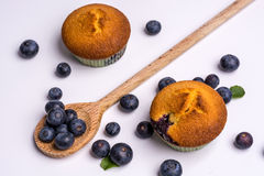 Blueberry muffins with blueberries on white background Stock Photo