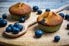 Blueberry muffins with blueberries on wooden spoons and wooden b Stock Photos