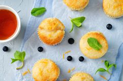 Blueberry muffins with lemon glaze Royalty Free Stock Images