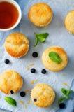 Blueberry muffins with lemon glaze Royalty Free Stock Photography