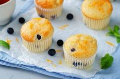 Blueberry muffins with lemon glaze Stock Photo