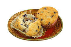 Blueberry Muffins Open and Whole Stock Images