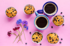 Blueberry muffins, two cups of coffee and cornflowers on pink ba. Ckground Stock Image