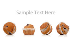 Blueberry muffins on white with copy space Royalty Free Stock Photo