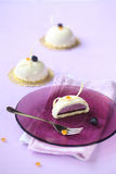 Blueberry and Orange Mousse Cakes Stock Images