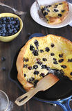 Blueberry pancake. In a pan Stock Photo