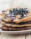 Blueberry Pancake Closeup. Blueberry Pancake Close up on white Stock Photos