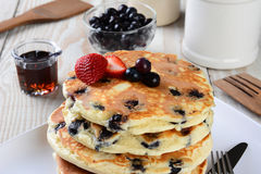 Blueberry Pancake Closeup Royalty Free Stock Photos