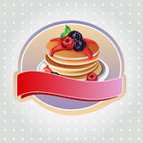 Blueberry pancake label. Label with pancake, blueberry,raspberry, suitable for restaurant or product logo Stock Photography