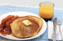 Blueberry Pancakes and Bacon Royalty Free Stock Photography