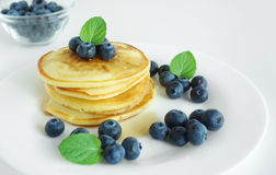 Blueberry Pancakes Breakfast Stock Photos