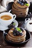Blueberry pancakes with buckwheat flour Royalty Free Stock Photos