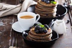 Blueberry pancakes with buckwheat flour Stock Images