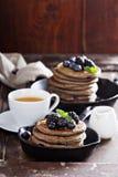 Blueberry pancakes with buckwheat flour Royalty Free Stock Photo
