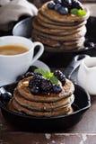 Blueberry pancakes with buckwheat flour Stock Photography