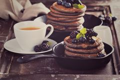 Blueberry pancakes with buckwheat flour Royalty Free Stock Images